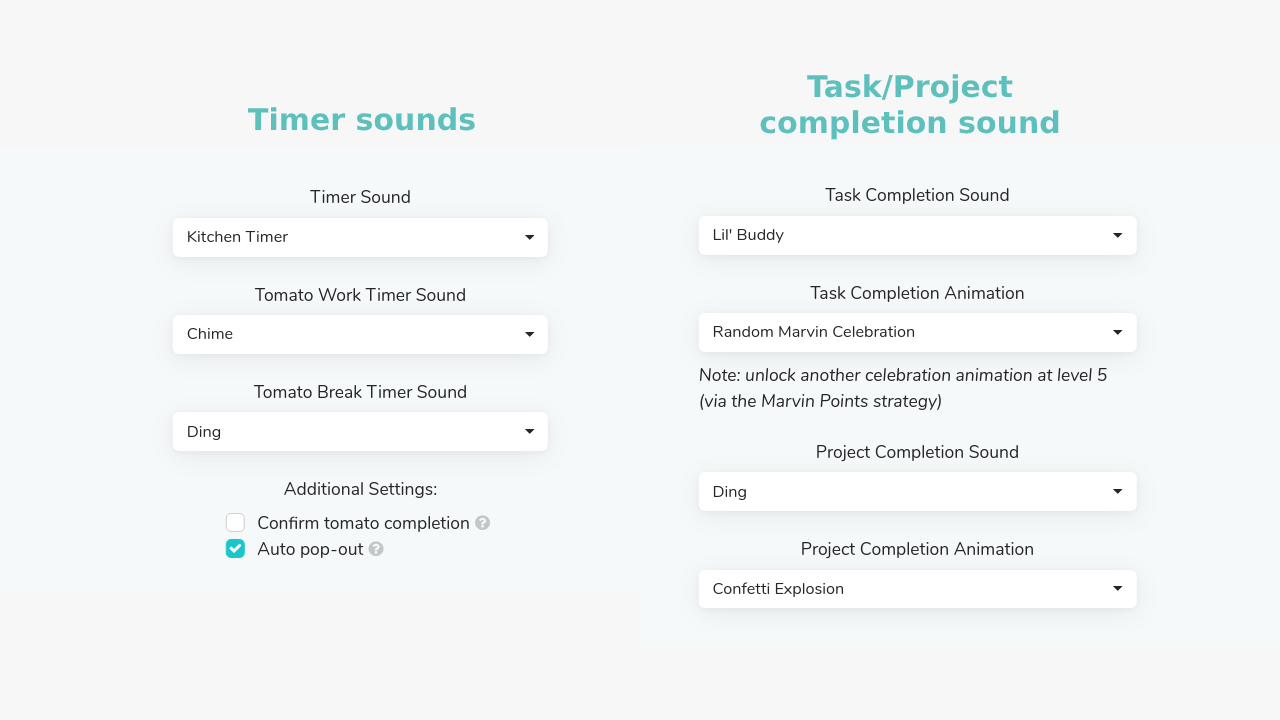 Sound settings for task/project completion and timers