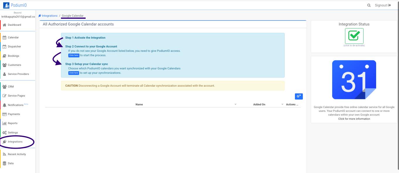 Sync your PodiumIO work calendar with Google calendar