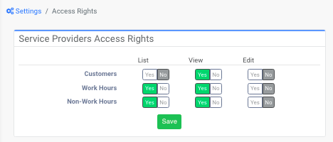 Access rights of Service Providers - See full list of/view/edit