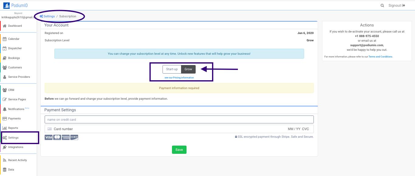 Manage your PodiumIO subscription