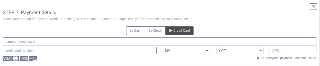 Payment section in booking page