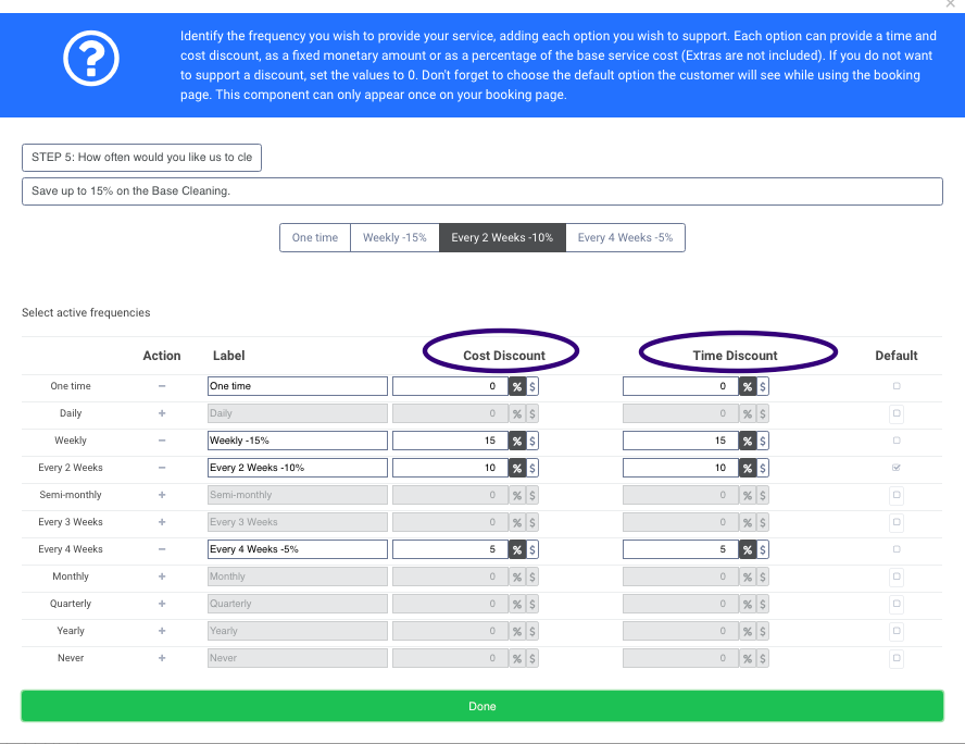 Frequency section of Booking pages for pricing strategy