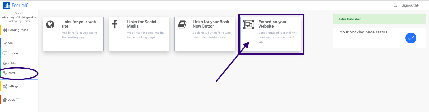 Install the booking page on website choose the option to embed