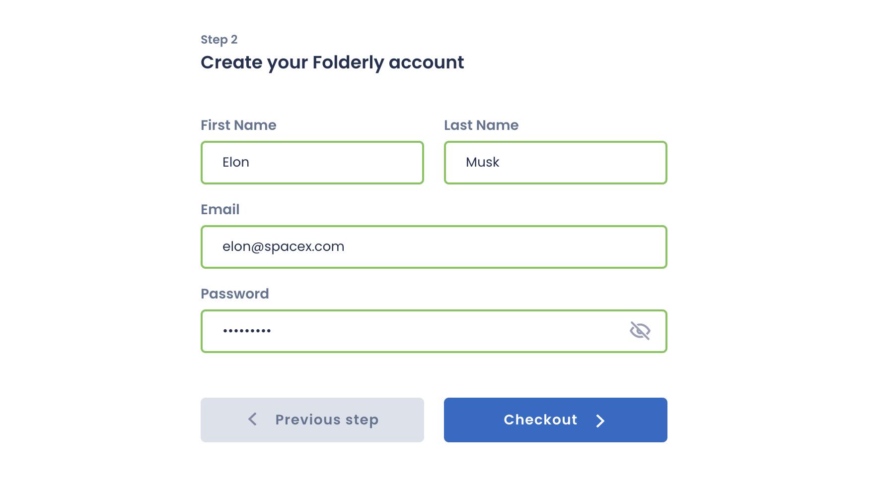 Folderly account creation