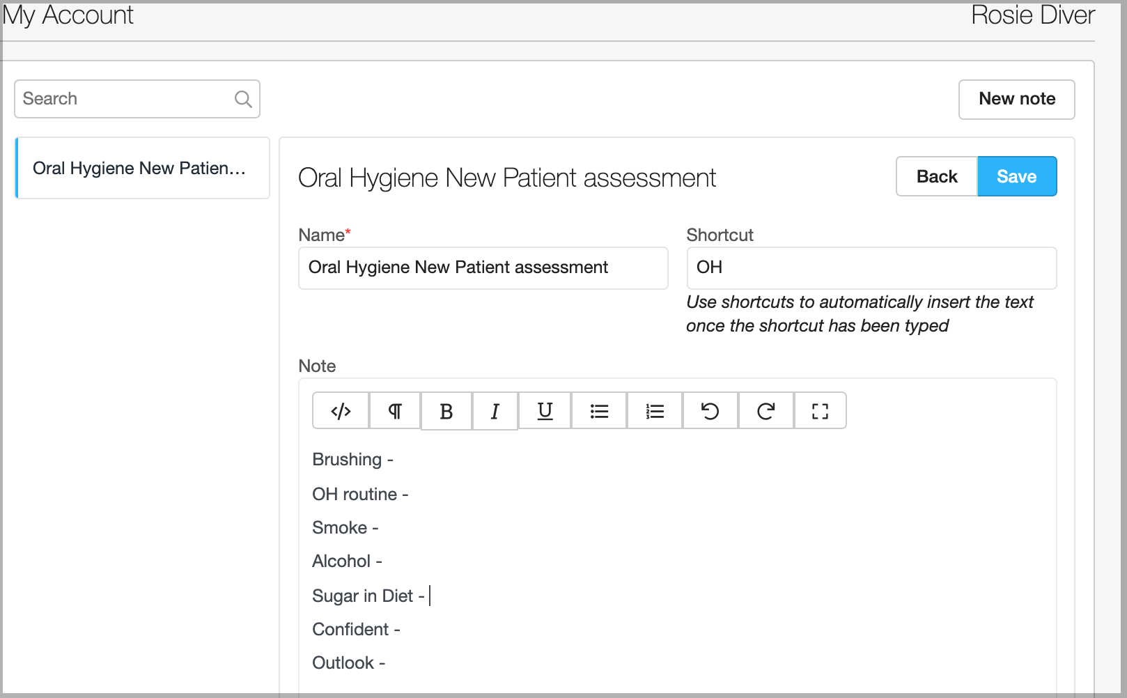 Dentally Create New Clinical Note Template