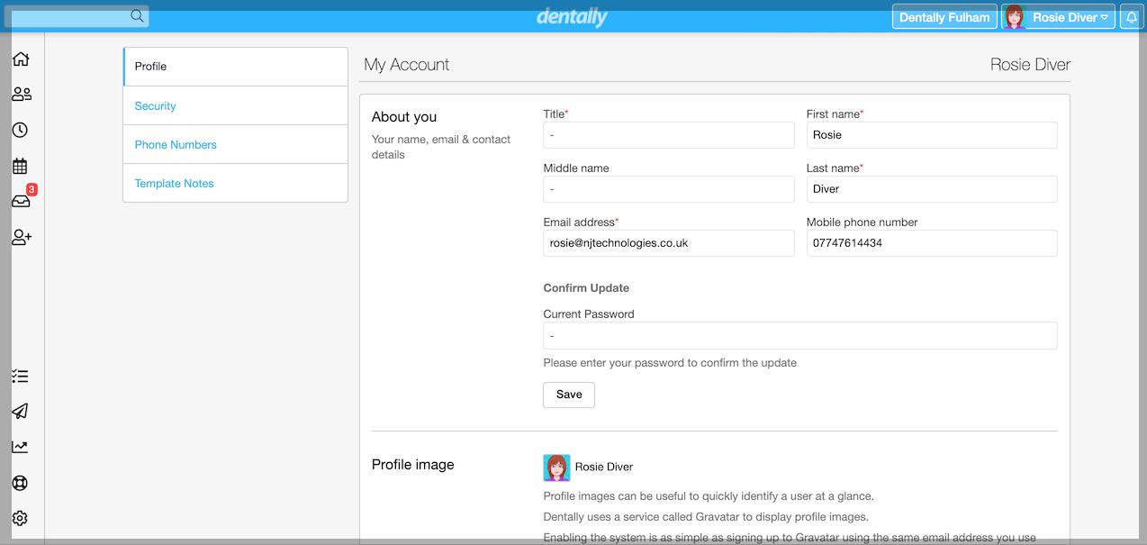 Dentally  - My Account - My Profile