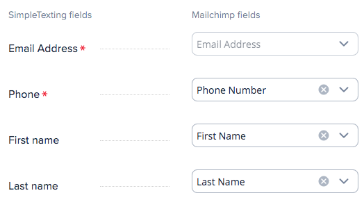 Mapping mailchimp and simpletexting lists