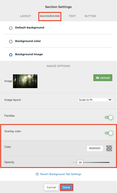 Section Setting Overlay Color
