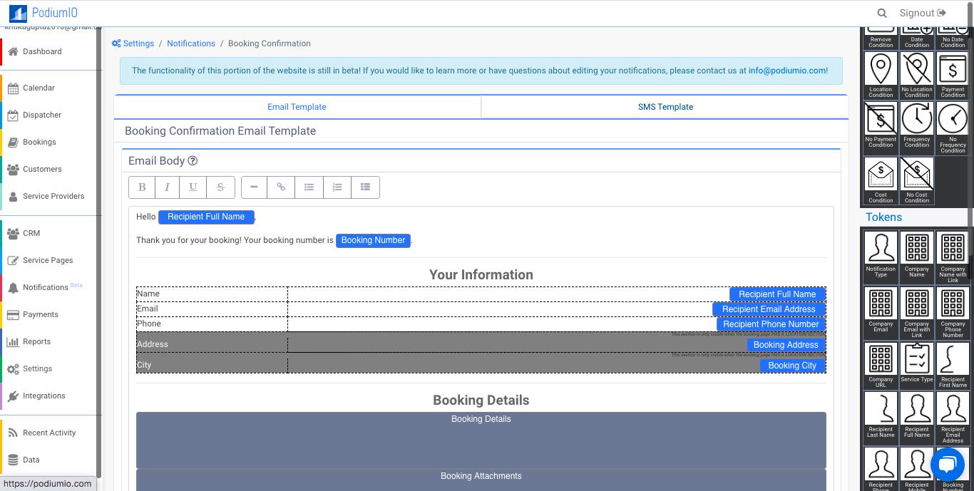 Editable notifications templates
