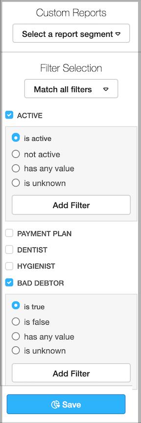 Dentally Patients Report Bad Debtors segment
