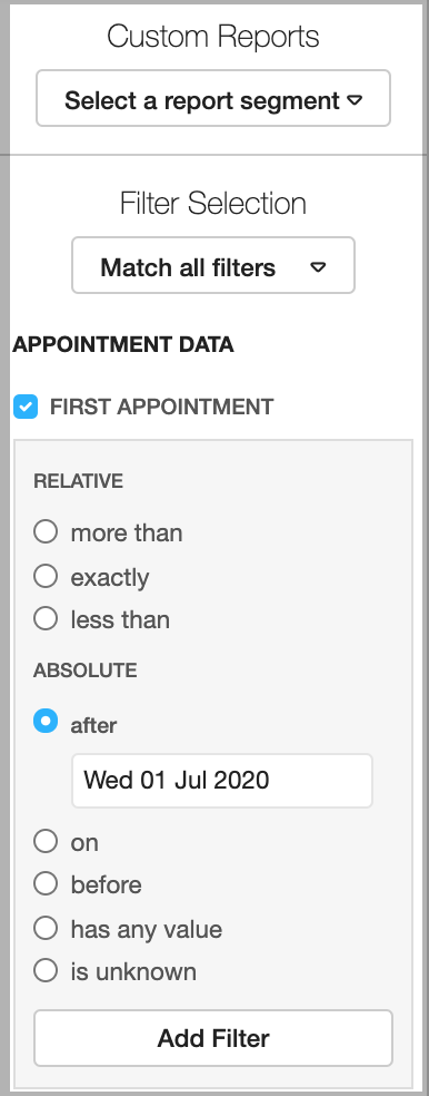 Dentally Patients Report Appointment Filter