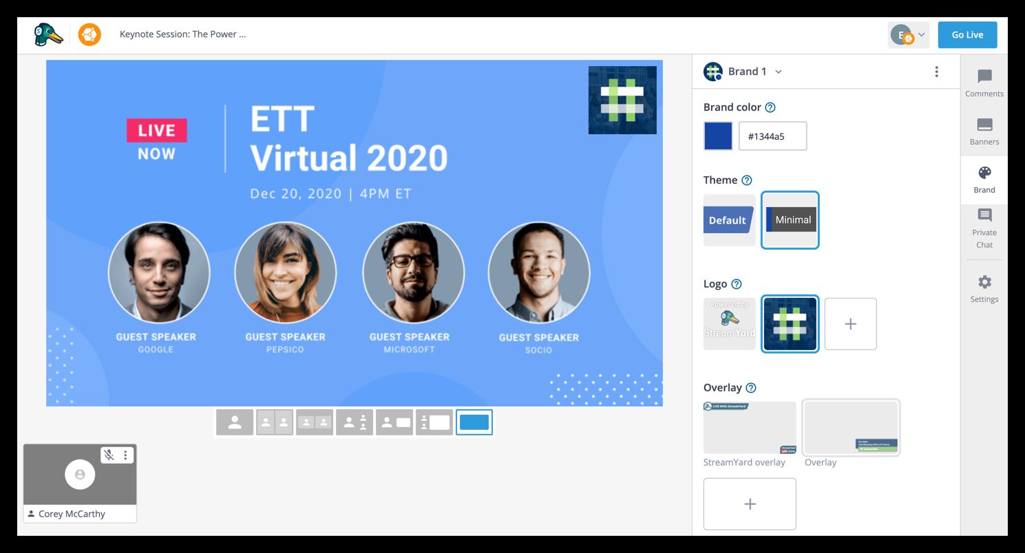Screenshot of the Brand tab.