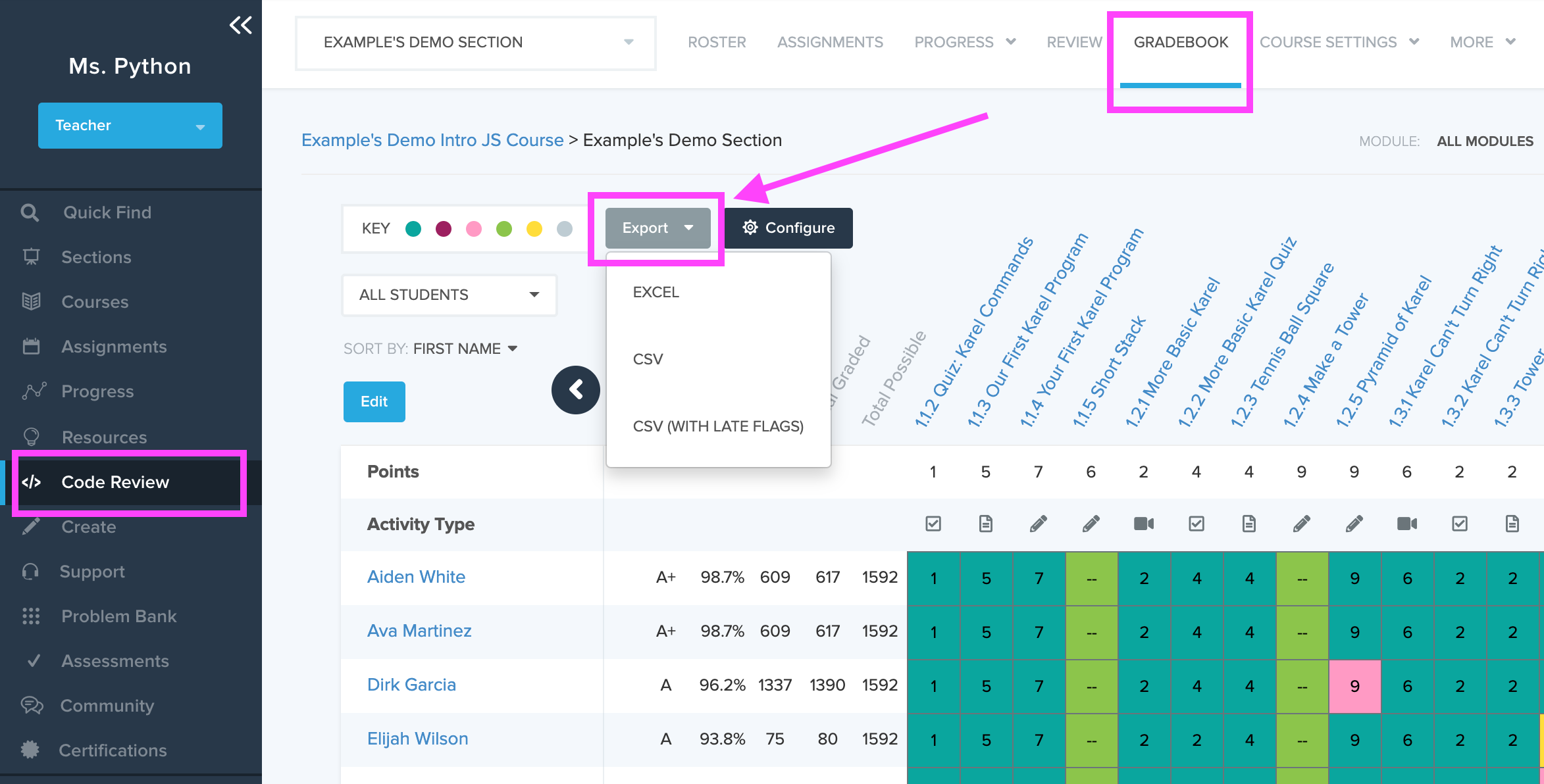 Image showing Gradebook and Export drop down menu