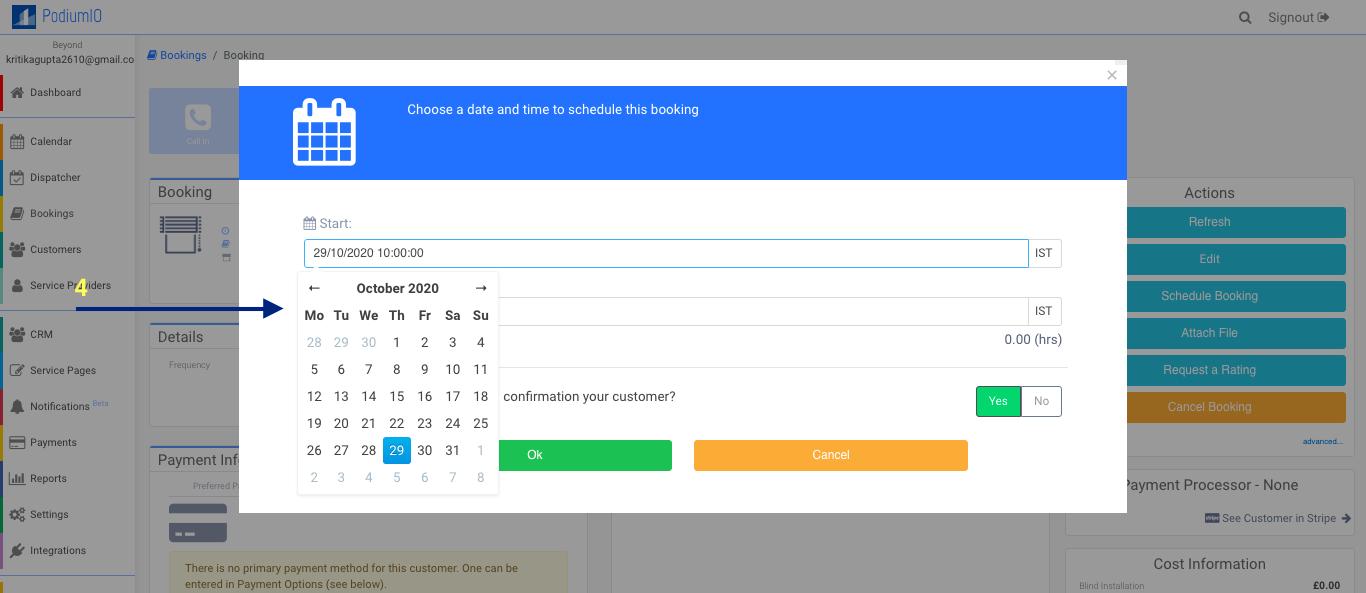 Choose a date & time schedule a booking in your calendar