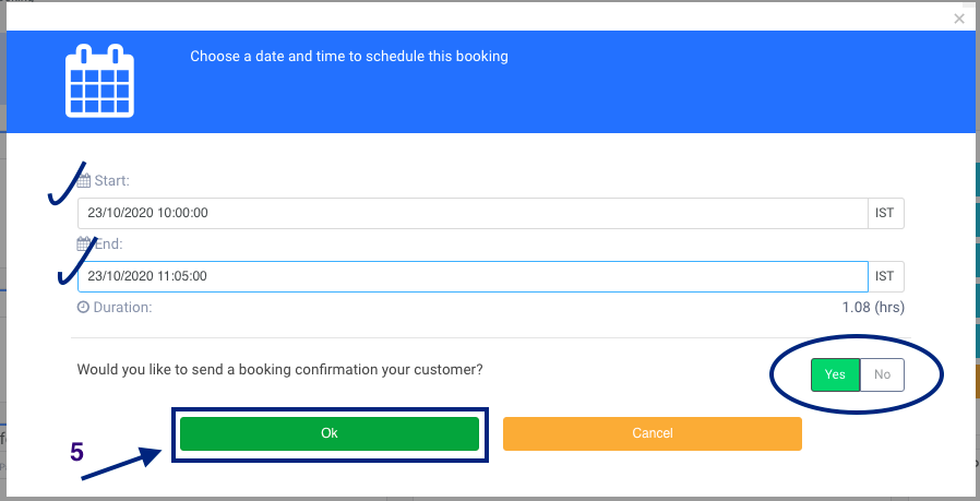 Enable/Disable booking notification to be sent to your customer
