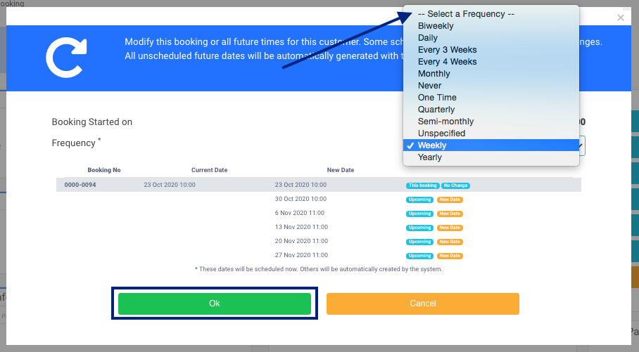 Select the frequency of Recurring Booking