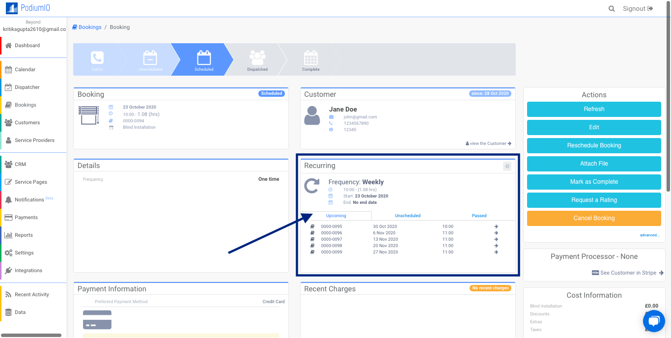 Recurring Booking reflected under booking profile in Recurring panel