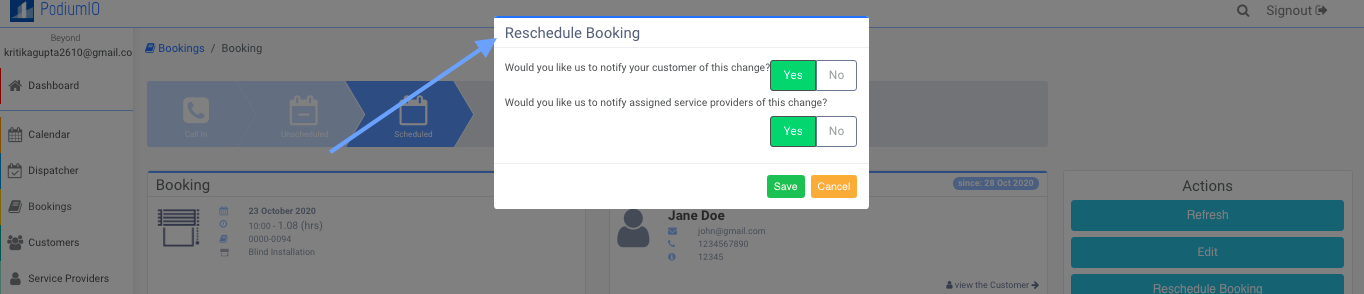 Select the notification preference of Recurring Booking