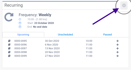 Gear icon in the Recurring Panel to turn recurring booking into a regular booking