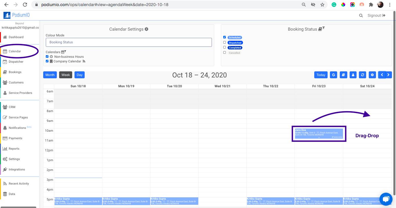 """""""Reschedule Booking"""" under calendar"""