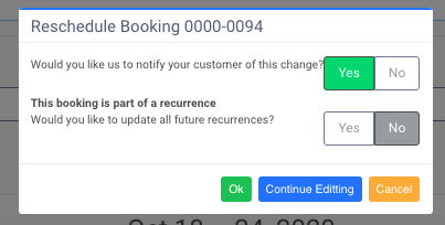 """Notification preference after """"Reschedule Booking"""""""