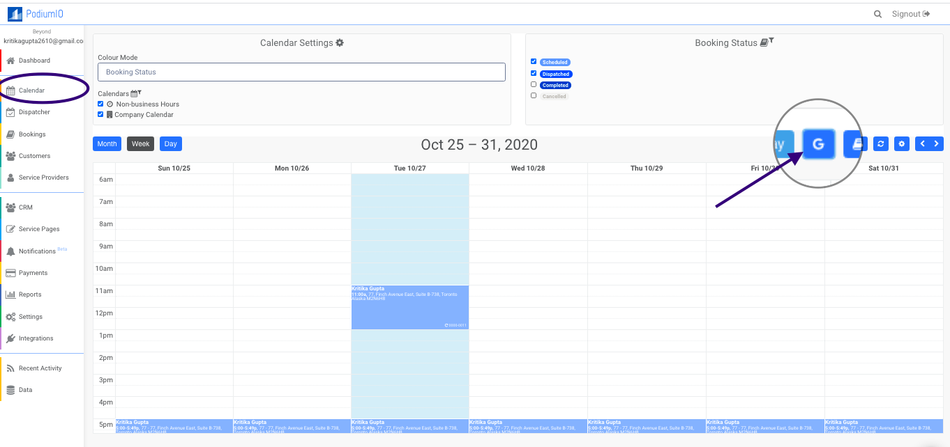 Sync Google calendar from Calendar section