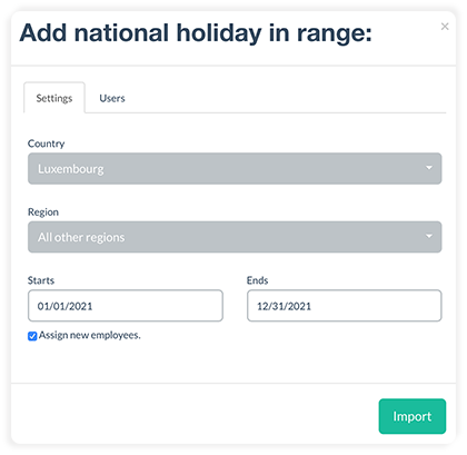 Added Luxembourg to the import of bank holidays