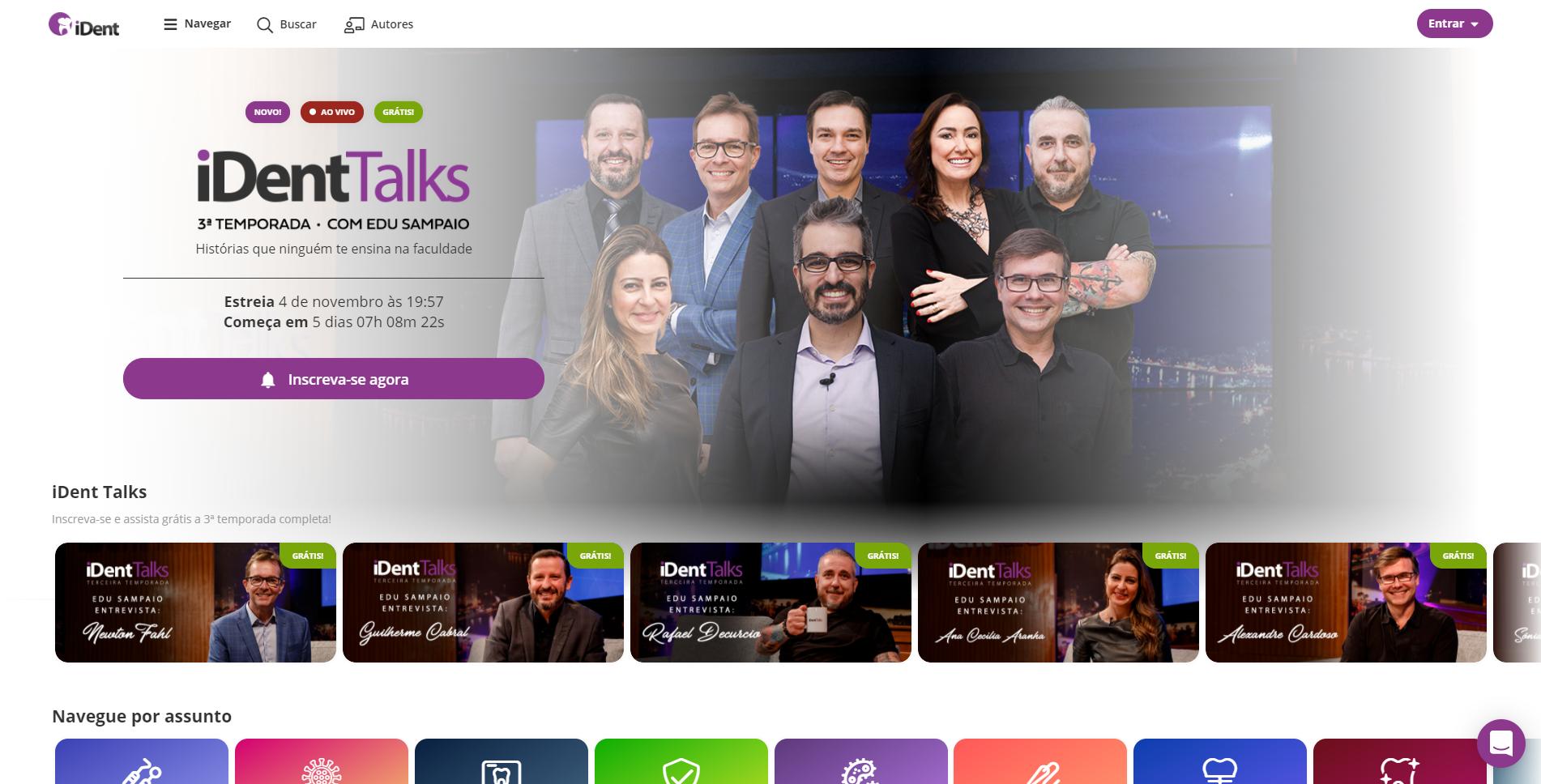 imagem da página inicial do iDent, com capa do iDentTalks