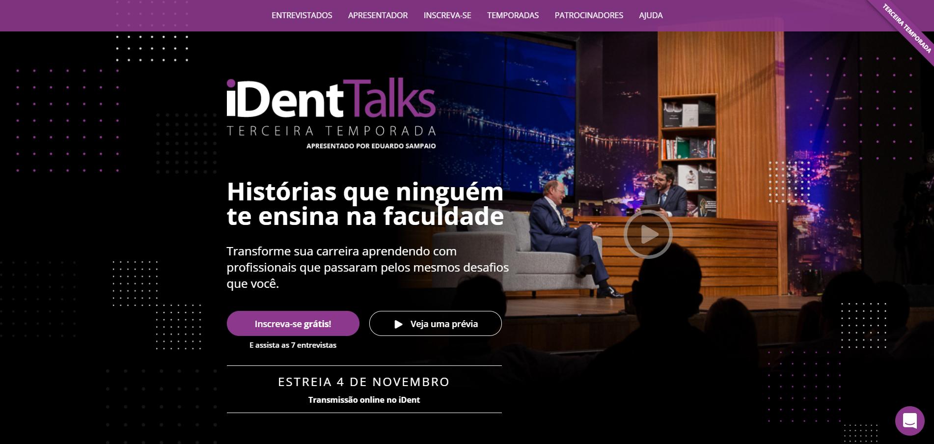 imagem da página do iDentTalks, Talk Show da Odontologia