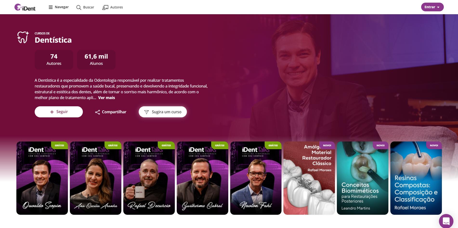 imagem opção sugira um curso de odontologia para o iDent com cursos da especialidade de dentística
