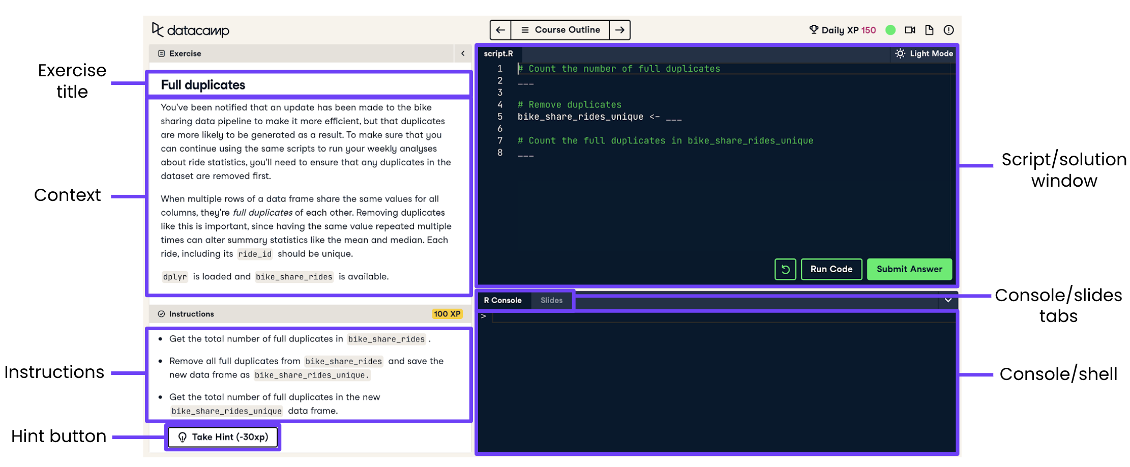 Screenshot of a coding exercise with the title, context, instructions, hint button, script/solution window, console/slides tabs, and console/shell labeled.