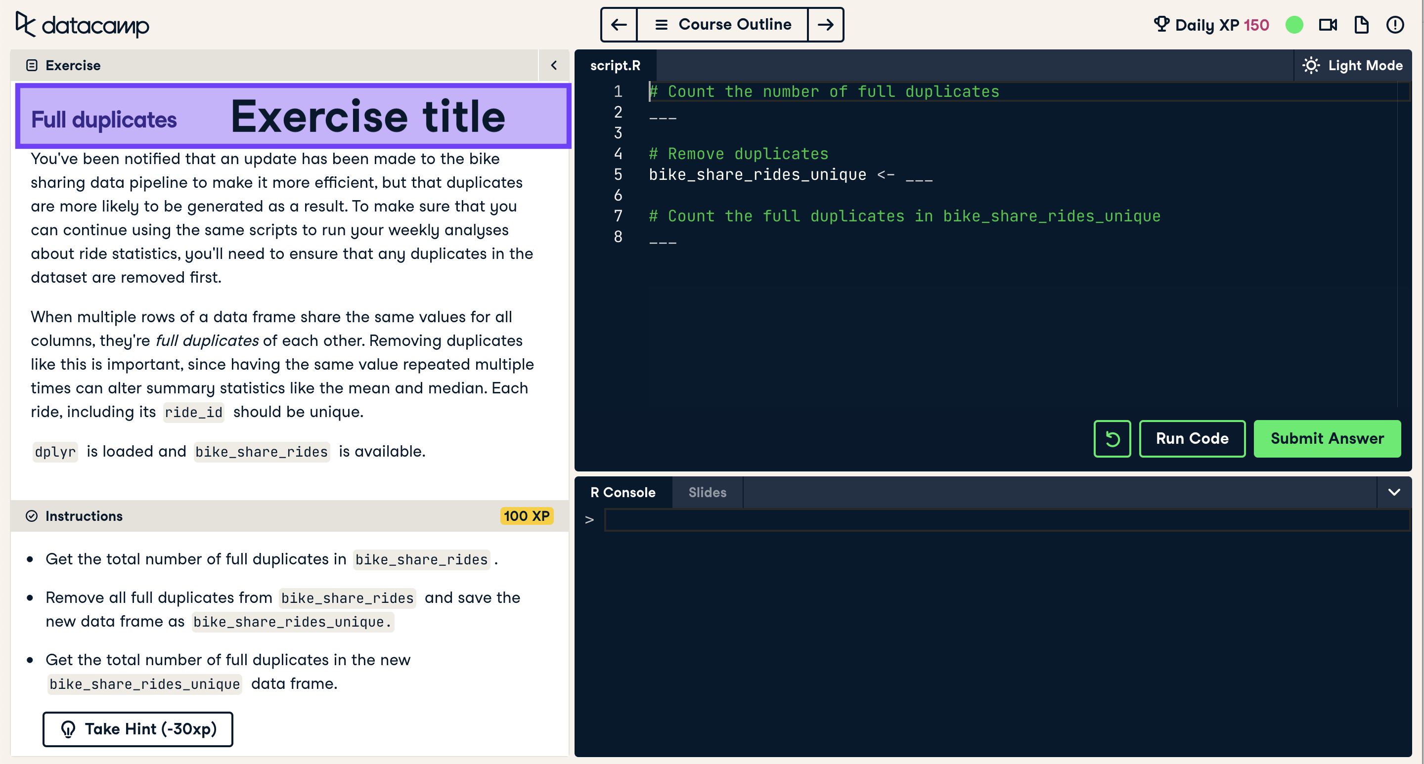 Screenshot of coding exercise with exercise title highlighted