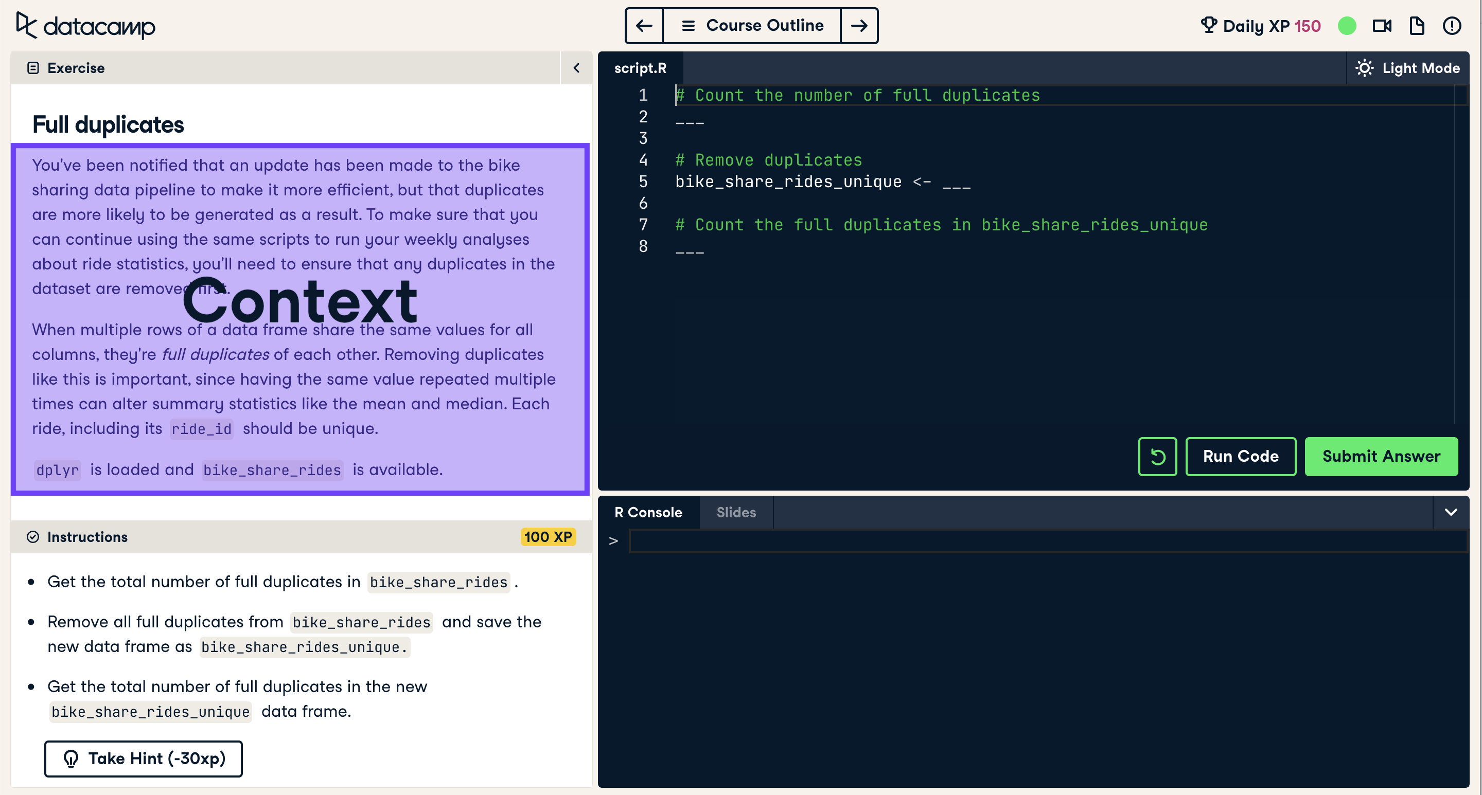 Screenshot of coding exercise with context highlighted