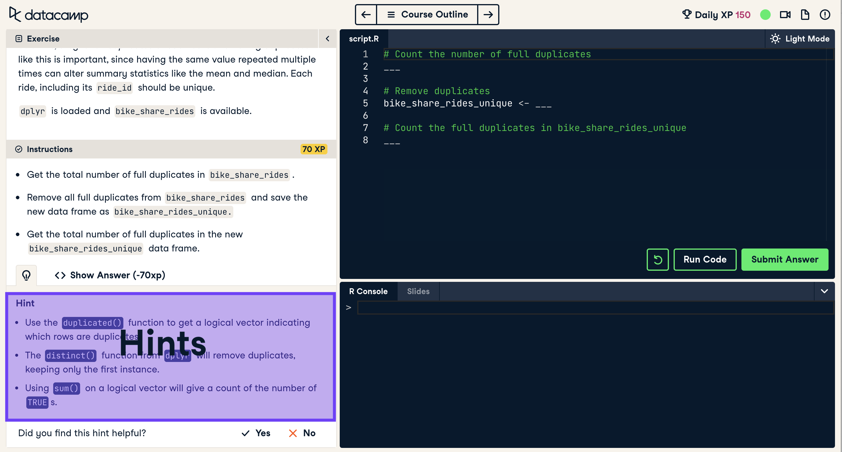 Screenshot of coding exercise with hint highlighted