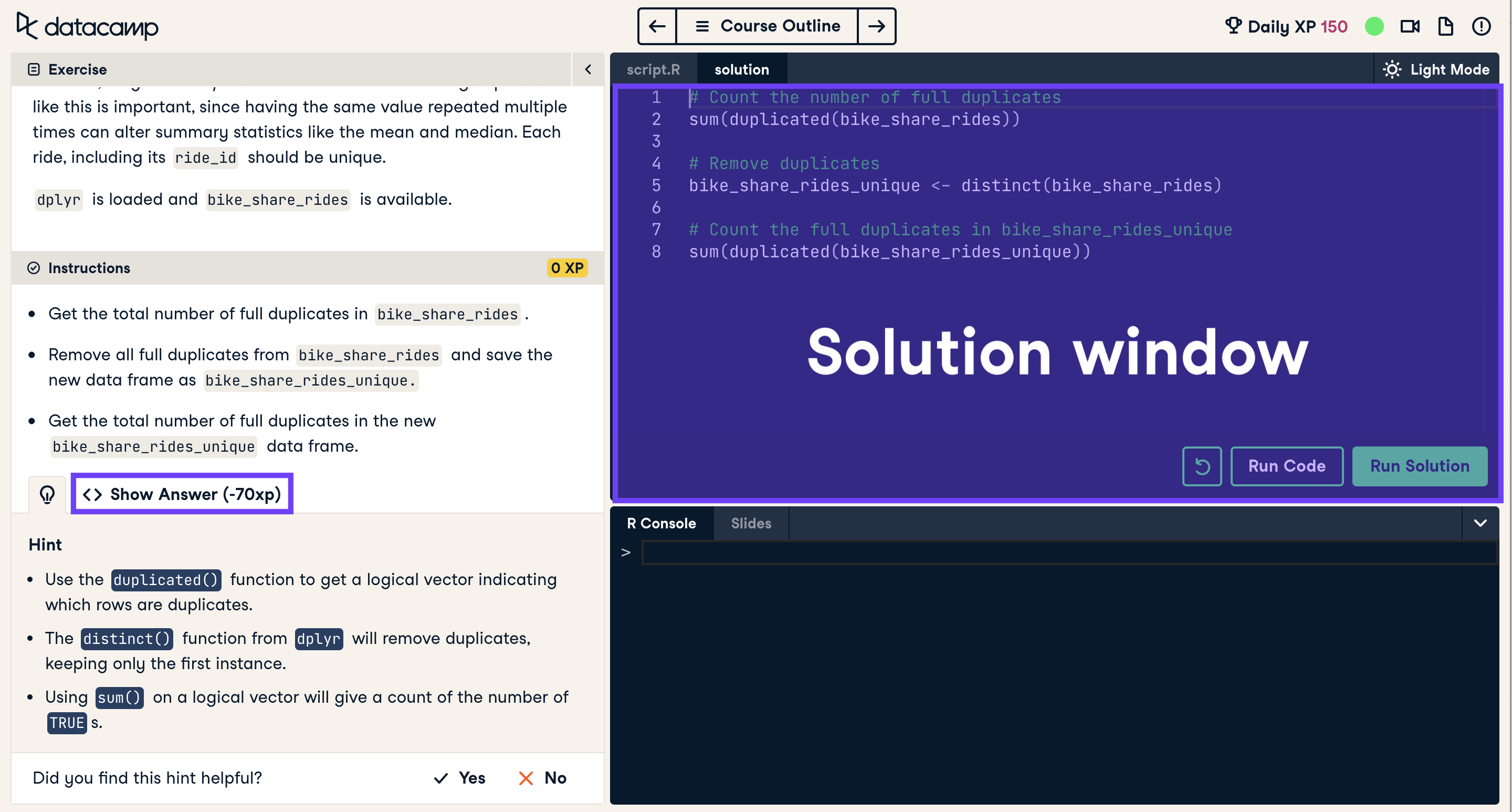 Screenshot of coding exercise with solution window highlighted