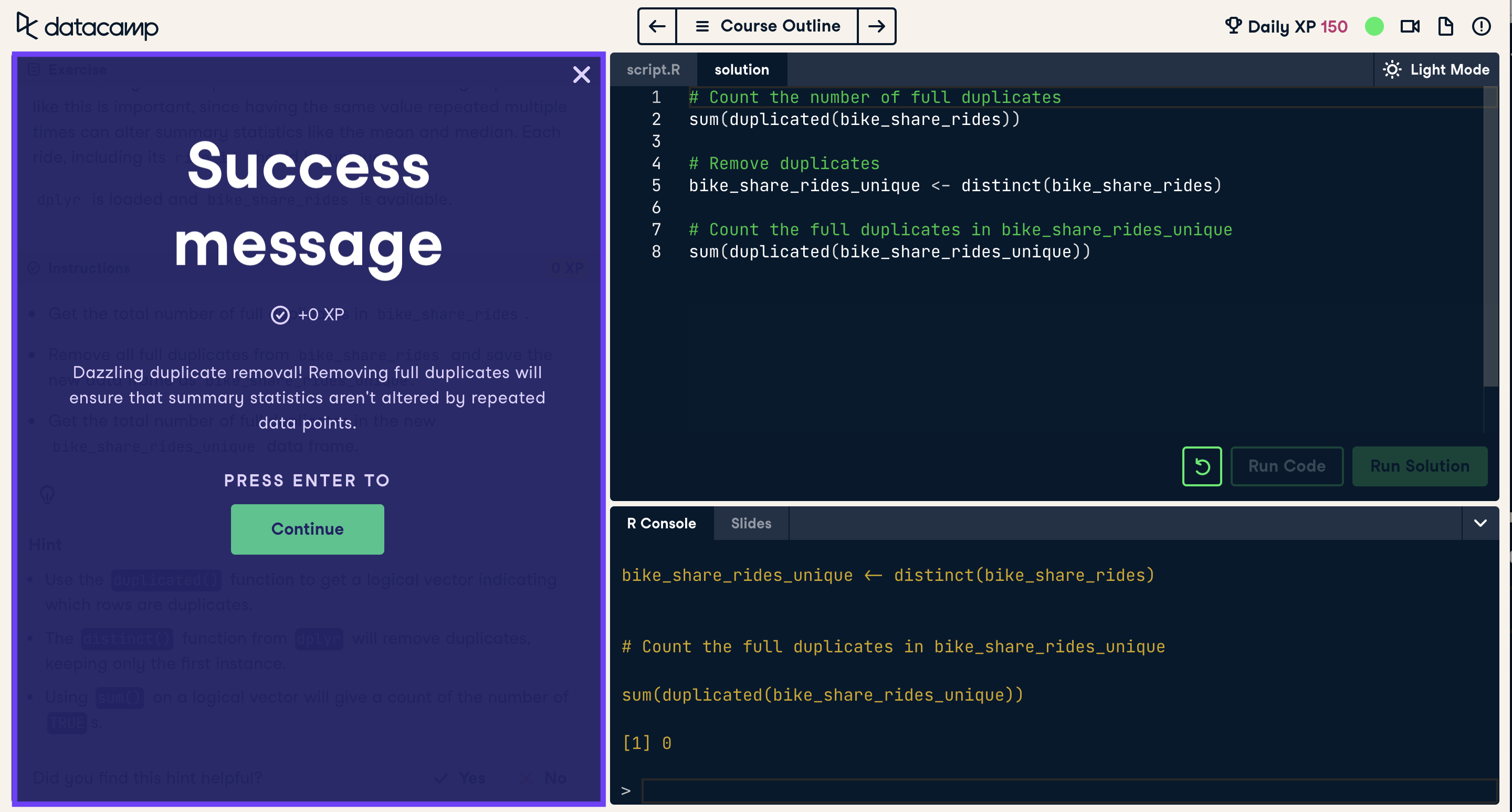 Screenshot of a completed coding exercise with success message highlighted