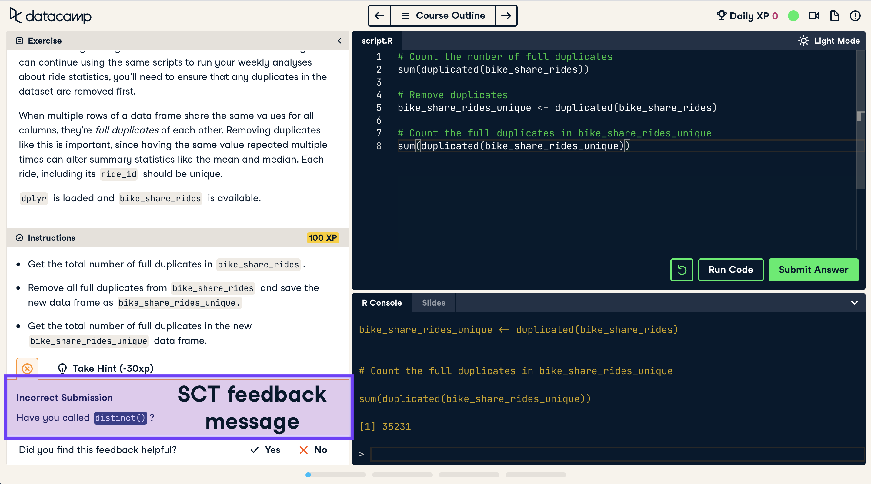 Screenshot of an incorrect coding exercise submission with SCT feedback highlighted