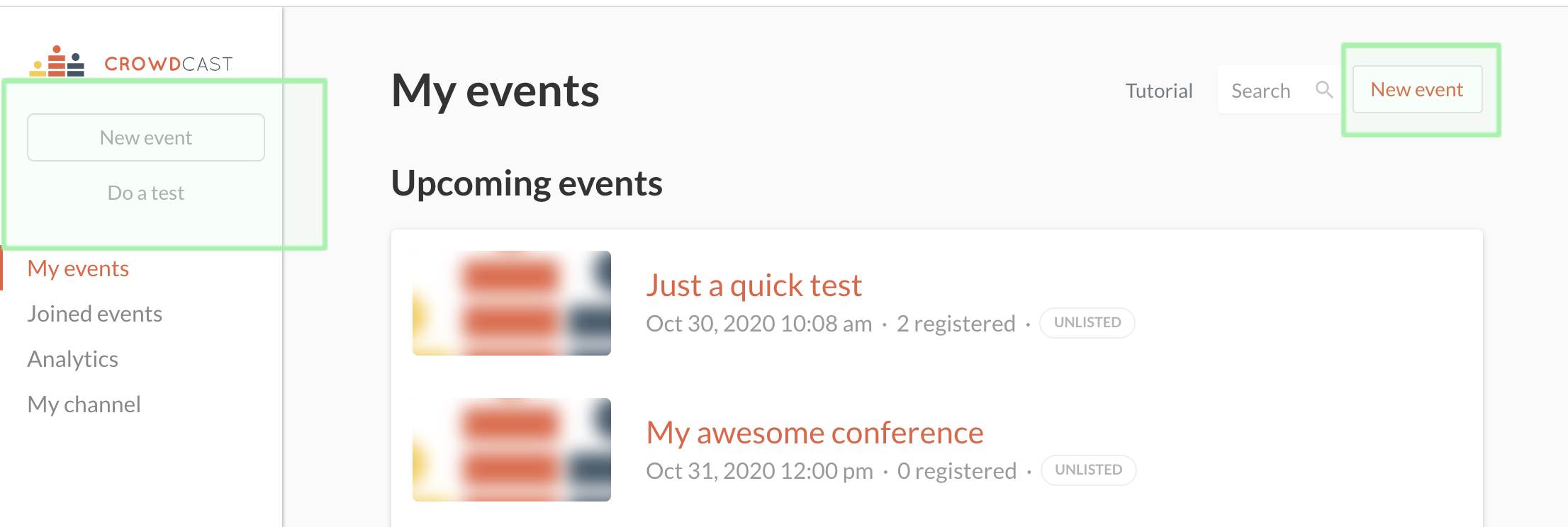 Photo of host dashboard with new event in top right hand side circles and new event within expended left hand side bar circled