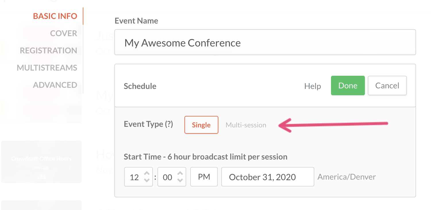 An arrow pointing to the multi-session option within schedule options.