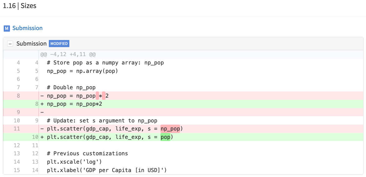 An example code diff from Intermediate Python. There are two lines different in the learner submission compared to the solution.