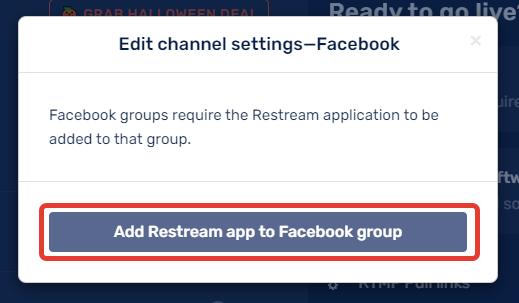 Add Restream app to Facebook group