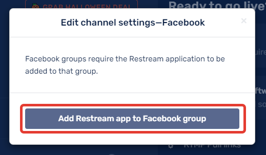 Add Restream app to Facebook group