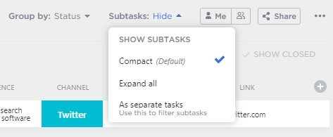 List view options for showing subtasks