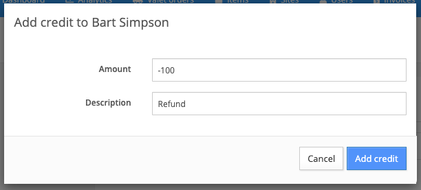 manually add credit to an account