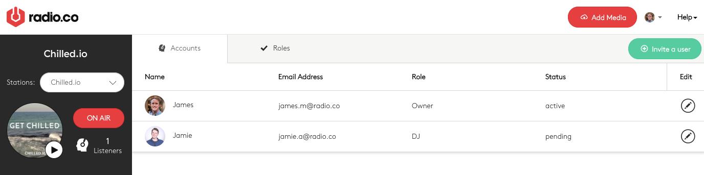 Invitation sent to new user.