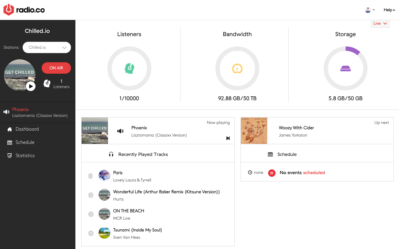 New user Radio.co dashboard view.