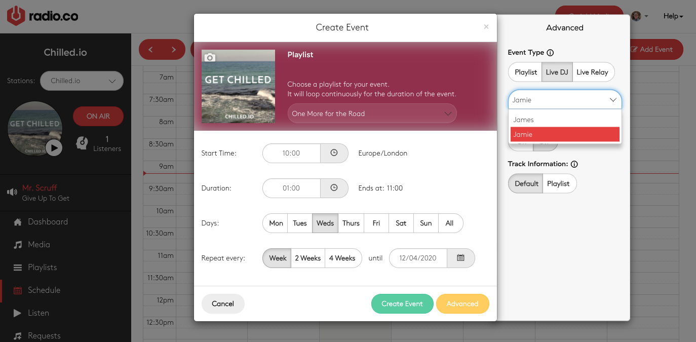 Creating a new event for users.