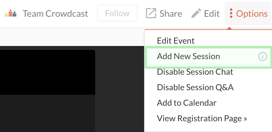 Screenshot of the options menu within an event expanded with the add a new session button circled