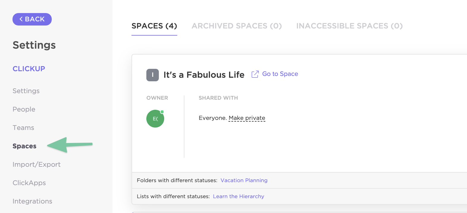 Settings sidebar menu with Spaces selected and options to see Spaces, Archived Spaces, Inaccessible Spaces