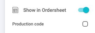 Show in Ordersheet